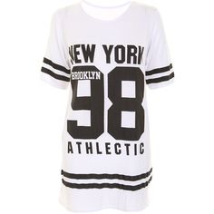 New York 98 Oversize Tee in White ($6.60) ❤ liked on Polyvore featuring tops, t-shirts, shirts, dresses, oversized white top, low t shirt, oversized white shirt, white top and oversized tee