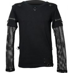 Goth shirt with mesh sleeves, zipper detail and d-rings, by Queen of Darkness clothing.