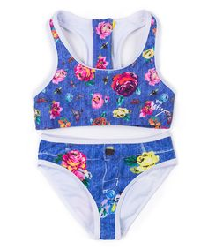 Take a look at this Betsey Johnson Kids Blue Floral Bikini - Toddler & Girls today!