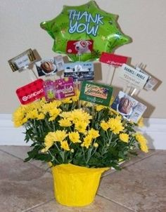 PTA Silent Auction Baskets - Gift Card Flower Pot: insert all those random lower value gift cards that were donated into a flowe - Gift Card Tree, Gift Card Basket, Gift Card Bouquet, Gift Cards, Theme Baskets, Raffle Baskets, Teacher Appreciation Gifts, Teacher Gifts, Daycare Gifts