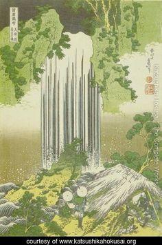 (Japan) Yoro waterfall in Mino province, 1830 by Katsushika Hokusai woodblock print. Japanese Artwork, Japanese Painting, Japanese Prints, Japanese Shop, Chinese Painting, Art Occidental, Japanese Woodcut, Art Asiatique, Katsushika Hokusai