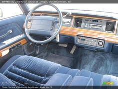 1990 Mercury Grand Marquis Colony Park LS Wagon in Crystal Blue Metallic Photo No. Mercury Marquis, Ford Ltd, Grand Marquis, Dashboards, All Cars, Crown, Vehicles, Blue, Vintage Ads