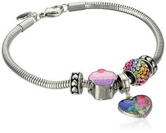 Trolls Stainless Steel 'Hug Time' Heart Charm, Crystal Bead and Cupcake Bundle with Stoppers Charm Bracelet, 7.5' -- Read more at the image link. (This is an affiliate link) #NiceJewelry