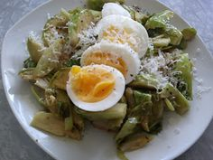 Warm Brussels Sprout & Soft Boiled Egg Salad by Turnip & Bean Boiled Egg Salad, Soft Boiled Eggs, Brussels Sprout, Beans, Warm, Drink, Cooking, Breakfast, Food