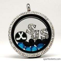San Jose hockey themed locket necklace from SportLockets.com.  Customize this jewelry with your own letters!