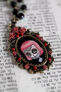 Dia de Los Muertos  Pink Sugar Skull Girl  original by mabgraves,