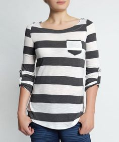 White & Charcoal Stripe Boatneck Top | zulily