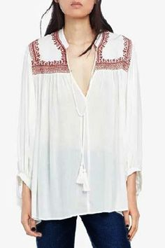 Sweet V-Neck Self-Tie Embroidery Long Sleeve Blouse For WomenBlouses