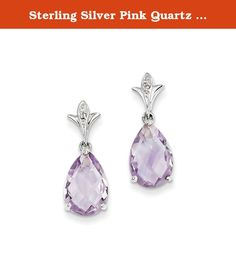 Sterling Silver Pink Quartz and Diamond Earrings. Product Type:Jewelry Jewelry Type:Earrings Earring Type:Drop & Dangle Material: Primary:Sterling Silver Material: Primary - Color:White Material: Primary - Purity:925 Length of Item:22 mm Width of Item:9 mm Earring Closure:Post & Push Back Stone Type_1:Rose de France, Amethyst Stone Shape_1:Pear Stone Color_1:Purple Stone Size_1:12 x 8 mm Stone Quantity_1:2 Stone Weight_1:2.520 ct Stone Setting_1:Prong Set Stone Type_2:Diamond Stone…