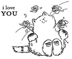 Cat Coloring Page, Coloring Book Pages, Coloring Sheets, Penny Black Cards, Penny Black Stamps, Embroidery Stitches, Hand Embroidery, Kitten Drawing, Copic Drawings