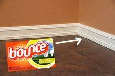 When used on baseboards it can not only help repel pet hair, but generally keep the things that get tracked in and out of our home off the walls and on the floor where it can be swept up. If you have a Swiffer or something like it, just attach the dryer sheet to the bottom of the mop head and run it along as frequently as your house seems to require the chore.
