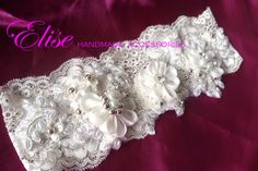 headband lace ( elatic silk ) broken white cute :)