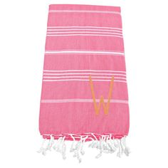 Cathys Concepts Personalized Turkish Towel Dark Pink with Orange Embroidery - 1400DP