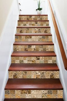 50 Amazing and Modern Staircase Ideas and Designs — RenoGuide - Australian Renovation Ideas and Inspiration Tiled Staircase, Staircase Handrail, Tile Stairs, Marble Stairs, Stair Risers, Modern Staircase, Handrail Ideas, Stair Handrail Wall Mounted, Interior Stair Railing