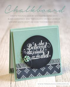 Chalkboard hints By Teneale Williams | Feel Goods Stamp Set From Stampin' Up! | Chalkboard Technique