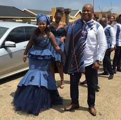 Image may contain: 4 people, people standing, beard and outdoor African Bridesmaid Dresses, African Wedding Attire, African Dresses For Women, African Attire, African Wear, African Fashion Dresses, Xhosa Attire, African Shirts, Prom Dresses