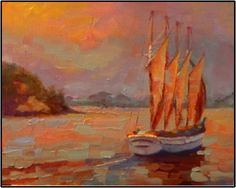 Morning Whale Watch , 8x10, oil on canvas by MAryanne Jacobsen, painting by artist Maryanne Jacobsen