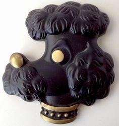 Vtg Miller Studio Chalkware Poodle Head Plaque MCM Boy Dog Black Gold Regency