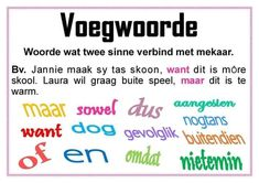 Voegwoorde (gekry op FB) Alphabet Writing Worksheets, Worksheets For Kids, Afrikaans Language, Afrikaans Quotes, School Motivation, Classroom Posters, Kids Learning Activities, Too Cool For School, Teacher Hacks