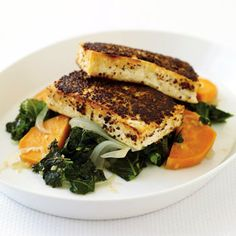 Mustard-Crusted Tofu with Kale and Sweet Potato II Recipe. I just made this with butternut squash and it was really good. It's quick and easy. Especially awesome if you press the tofu for a long time. Tofu Recipes, Vegetarian Recipes, Cooking Recipes, Healthy Recipes, Fall Recipes, Epicurious Recipes, Recipies, Dinner Recipes, Vegan Meals