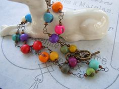 Acai Bead Necklace Yoga Boho Style Rainbow by gristmilldesigns, $24.95 #pcfteam