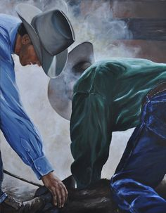 Two Cowboys Branding Western Art print great cowboy art for western decor. $25.00, via Etsy.