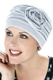 distressed rosette beanie hat for hair loss and cancer chemotherapy in grey