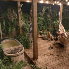 This Two-Person Natural Pine Hot Tub with a Charcoal Stove is beautiful, multipurpose and will transform any backyard into a relaxing escape. The visually aesthetic pine hot tub features a natural wood finish that seamlessly blends into existing . Outdoor Tub, Outdoor Baths, Outdoor Retreat, Outdoor Greenhouse, Outdoor Spaces, Hot Tub Backyard, Backyard Ideas, Tubs For Sale, Hot Tub Cover