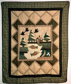 Fishing Lodge Cabin in the Woods Quilt Throw Wall Art Decor