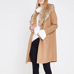 Cappotto da Donna Casual wollmantel classico Lang camel elegante Caramello Marrone Grigio