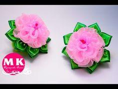 Мастер-класс Канзаши. Цветы из атласных лент и органзы. Резинки для волос. Розы Канзаши. | Страна Мастеров