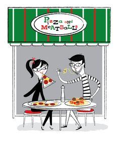 Pizza and Meatballs. Nila Aye