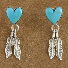 Native American Made Genuine Turquoise Heart and SS Earrings