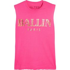 Brian Lichtenberg Ballin cotton-jersey tank ($35) ❤ liked on Polyvore featuring tops, tanks, pink, pattern tops, loose tank, loose tops, loose tank tops and print tank