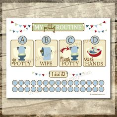 Instant Download - Printable Potty Chart - Potty Routine Chart - Boy Theme