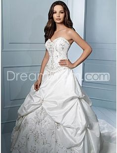Luxurious A-Line Sweetheart  Chapel Embroidering Taffeta Wedding Dresses (WS0034)