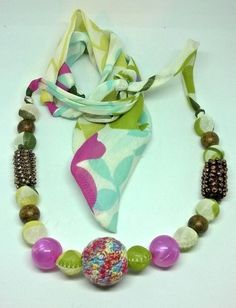 Pre-Loved Jewellery. Fabric Necklace with Unusual Plastic & Fabric Covered Beads