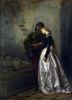 Tranquillo Cremona - Gli amanti alla tomba di Giulietta e Romeo, 1862