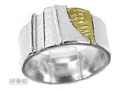 Atelier Reister - Schlichter mattierter Ring aus 925/- Silber mit einem 750/- Gelbgold Element.