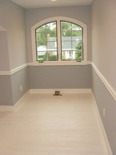 Easy way to create visual interest w chair rail and painted pine floor. # Pinterest++ for iPad #