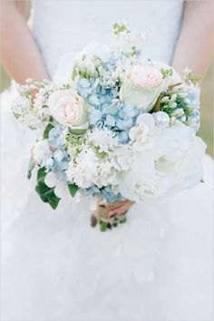 powder blue and white bridal bouquet   add gold broaches
