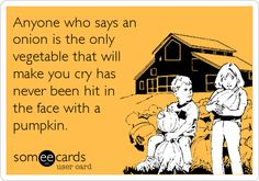 Anyone who says an onion is the only vegetable that will make you cry has never been hit in the face with a pumpkin.