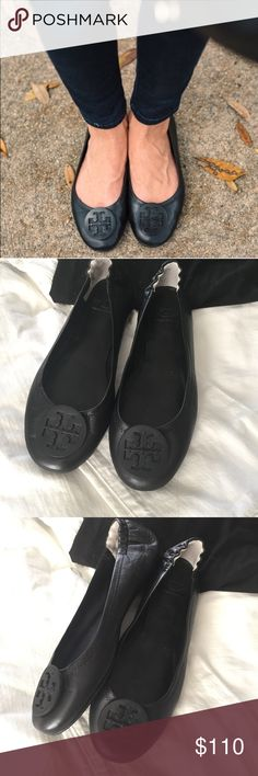 "Tory Burch // ""Minnie"" Flat in Black Crafted in lightweight, super-soft napa leather, it features a slip-resistant split rubber sole, layers of foam cushioning and stitch-and-turn construction. Finished with an elasticized back for a slipper-like fit and TB iconic double-T logo. Designed to fold up neatly into a tote or handbag. These are practically brand new but do have scuffing to the leather on the bottom of the front sole (see pic 5 bottom). This is not visible when wearing. No trades…"
