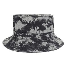 6971648a5e4 BLACK Tie-dye Print Bucket Hats Outdoor Fishing Hat Women Men Vintage Wash Bucket  Cap