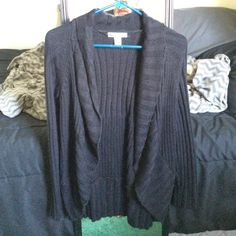 Super warm black cardigan Worn once, in new condition, 100% acrylic, has 2 small ties inside Style & Co Sweaters Cardigans