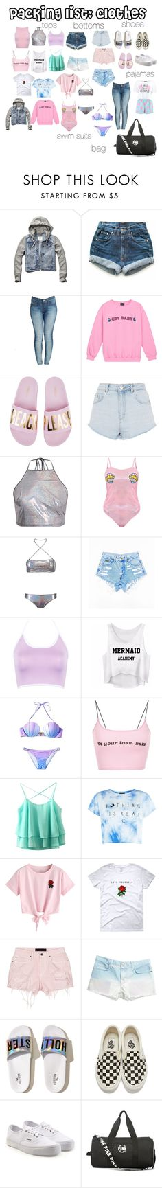 """packing list: clothes"" by crybarbietears ❤ liked on Polyvore featuring Abercrombie & Fitch, Levi's, True Religion, Topshop, Boohoo, WithChic, Alexander Wang, Current/Elliott, Hollister Co. and Vans"