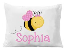 Bumble Bee Pillowcases , Girls Personalized Pillowcase , Kids Bedding Pillow Cases , Kids Personalized Pillow Cases by The Trendy Butterfly Image is Directly Printed on the Pillow Case, these are not Heat Transfers! Personalized Pillow Cases, Custom Pillow Cases, Custom Pillows, Monogram Pillowcase, Kids Birthday Gifts, Room Themes, Bedding, Bee, Pillowcases