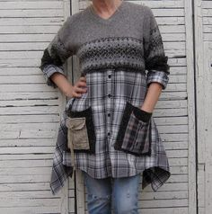 Relaxed Sweater Tunic Upcycled Clothing Recycled by AnikaDesigns