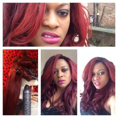 Red colour on 3 bundles and a closure. Hair from www.beehivehair.co.uk