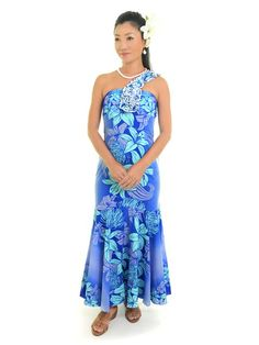 And the Lilly! [Exclusive]May One Shoulder Lei Dress [Lily / Blue] - Stage Costumes - Hula Supply Hawaiian Costume, Prom Dresses, Summer Dresses, Formal Dresses, Tahitian Dance, Muumuu, Ethnic Fashion, Hula, Dance Costumes